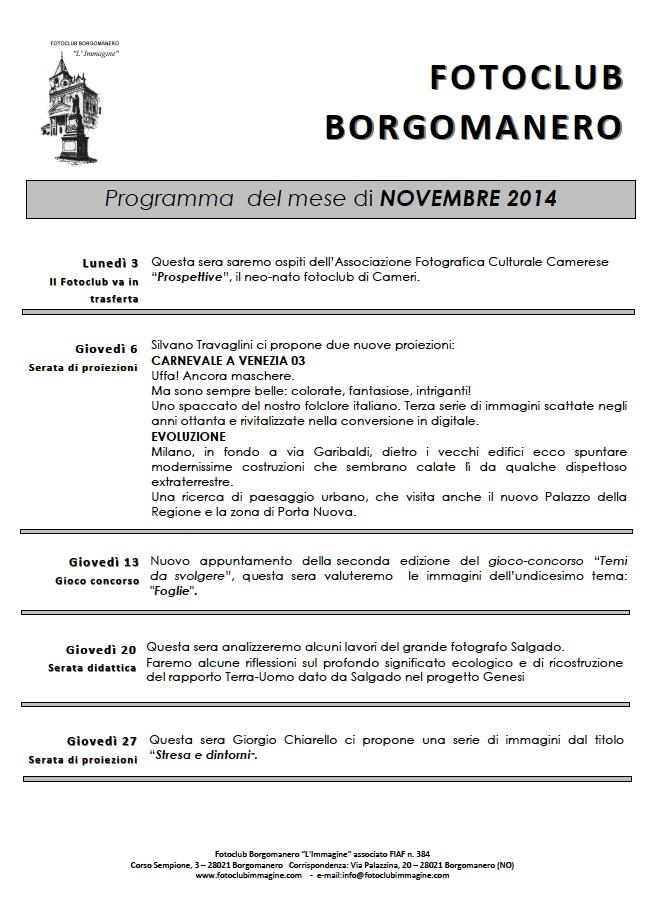 programma novembre 2014