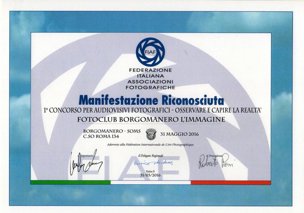 Borgomanero - Attestato FIAF
