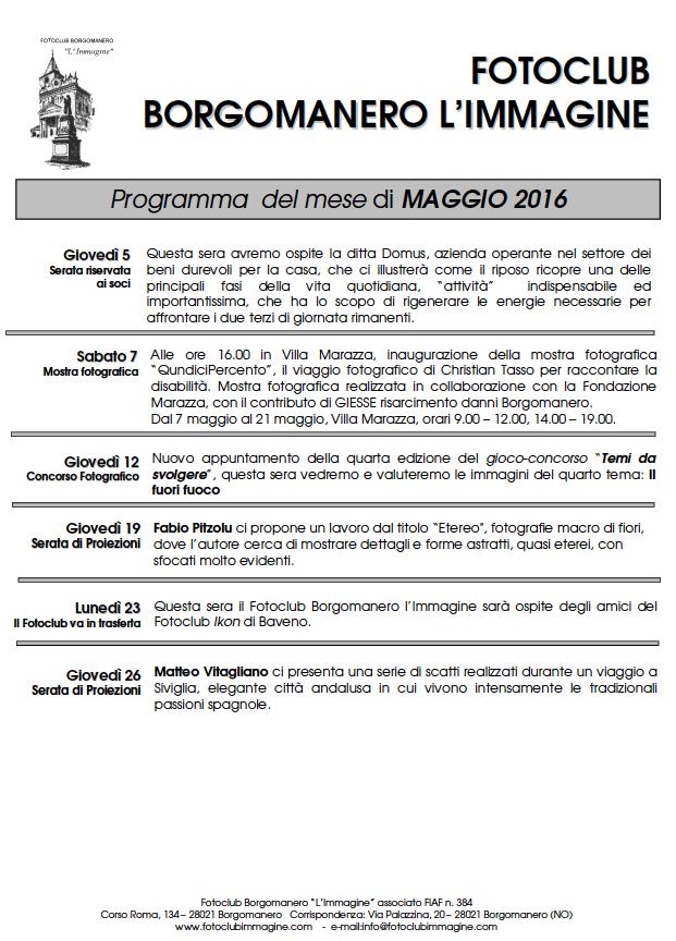 Programma Maggio 2016