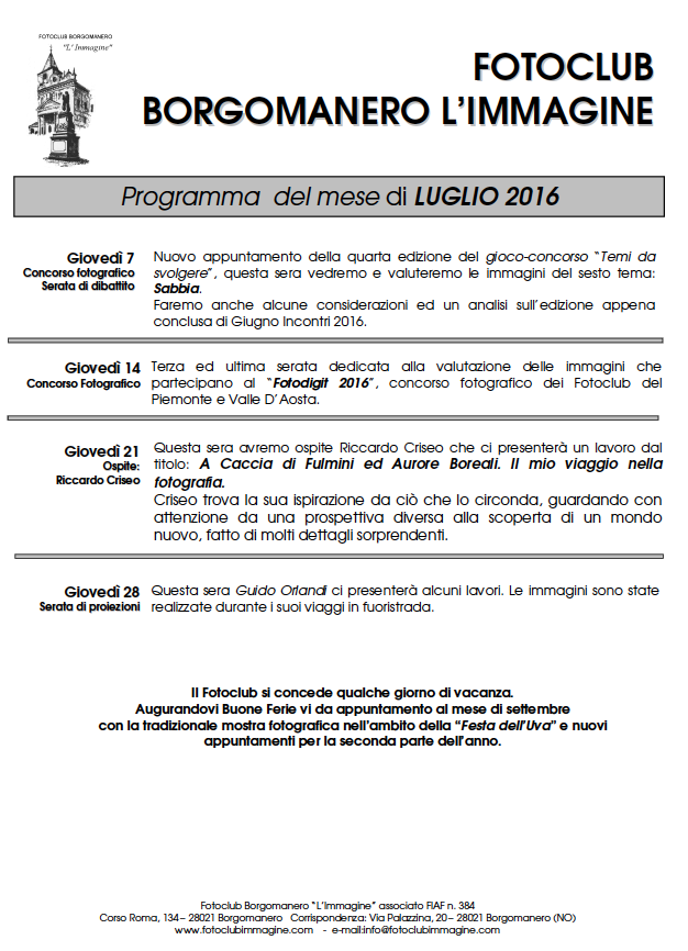 Programma Luglio 2016