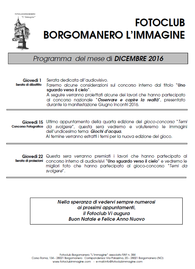 Programma Dicembre 2016
