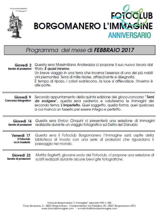 Programma Febbraio 2017 Fotoclub Borgomanero l'Immagine