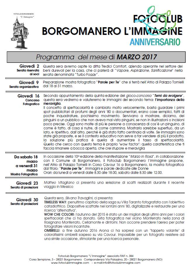 Programma Marzo 2017 Fotoclub Borgomanero l'Immagine