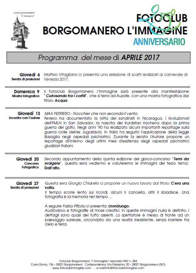 Programma Aprile 2017 Fotoclub Borgomanero l'Immagine