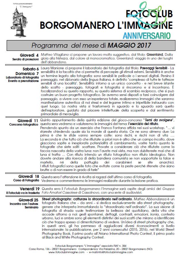 Programma Fotoclub Borgomanero l'Immagine Maggio 2017