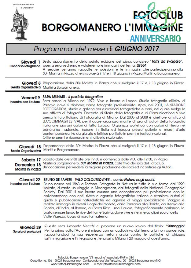 Programma Fotoclub Borgomanero l'Immagine Giugno 2017