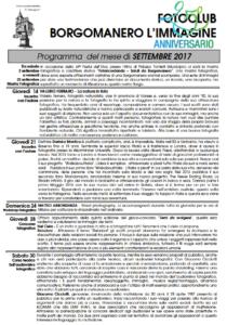 Programma Settembre 2017 Fotoclub Borgomanero l'Immagine