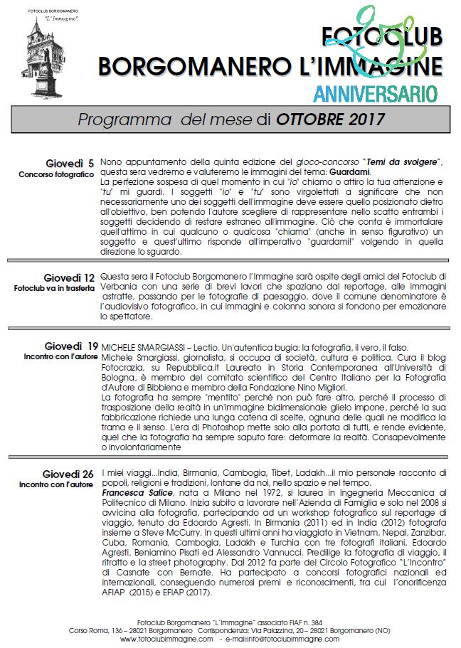 Programma Ottobre 2017 Fotoclub Borgomanero l'Immagine