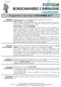 Programma Fotoclub Borgomanero l'Immagine Novembre 2107