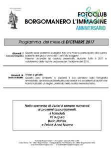 Programma Fotoclub Borgomanero l'Immagine Dicembre 2107