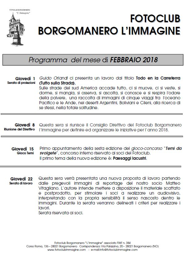 Programma febbraio 2018 Fotoclub Borgomanero l'Immagine