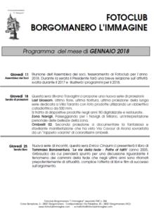 Programma Gennaio 2018 Fotoclub Borgomanero l'Immagine