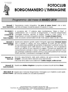 Programma marzo 2018 Fotoclub Borgomanero l'Immagine
