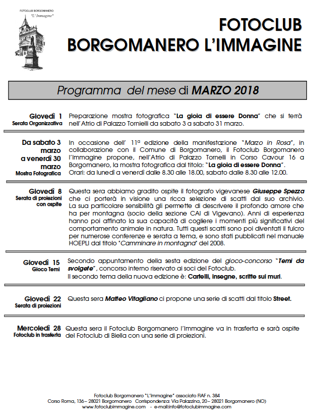 Programma Serate Marzo 2018 Fotoclub Borgomanero l'Immagine