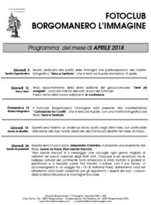 Programma aprile 2018 Fotoclub Borgomanero l'Immagine