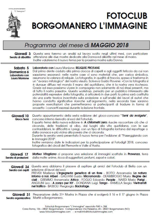 Programma maggio 2018 Fotoclub Borgomanero l'Immagine