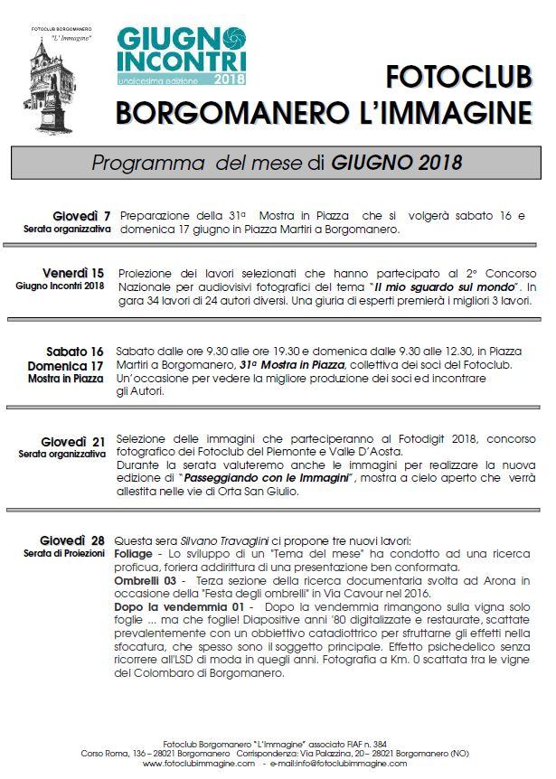 Programma Giugno 2018 Fotoclub Borgomanero l'Immagine