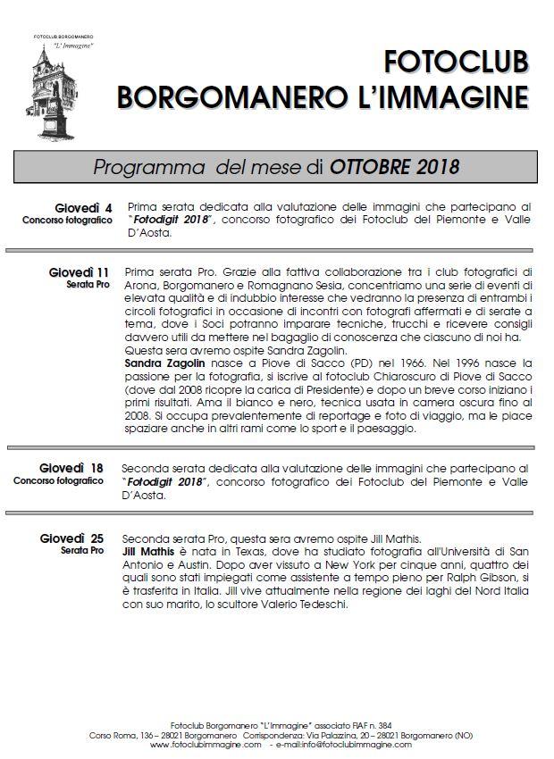 Programma Ottobre 2018 Fotoclub Borgomanero l'Immagine