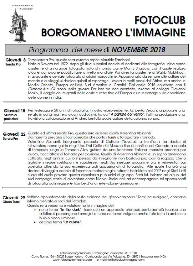 Programma Novembre 2018 Fotoclub Borgomanero l'Immagine