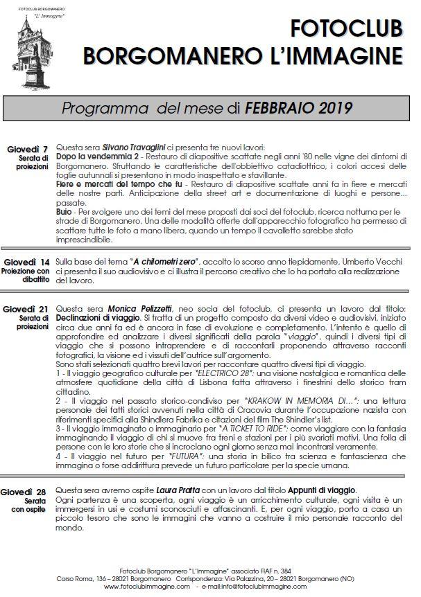 Programma Febbraio 2019 Fotoclub Borgomanero l'Immagine