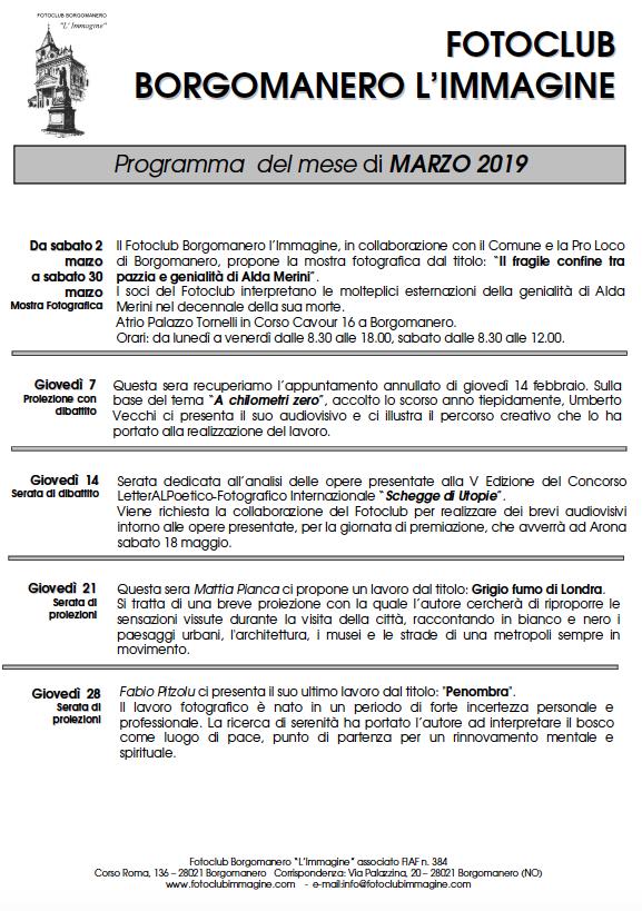 Programma Marzo 2019 Fotoclub Borgomanero l'Immagine