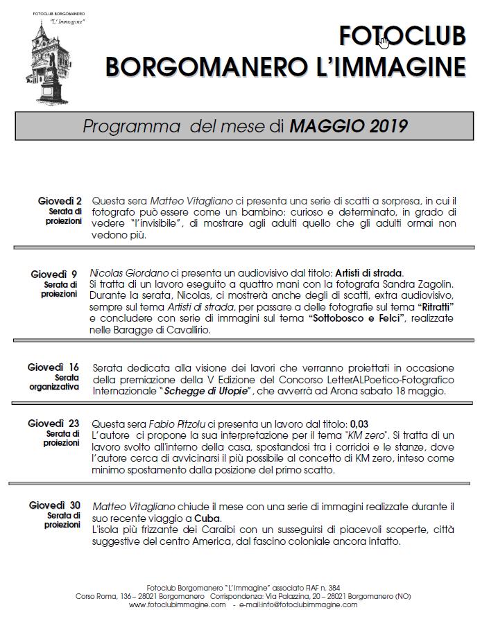 Programma Maggio 2019 Fotoclub Borgomanero l'Immagine
