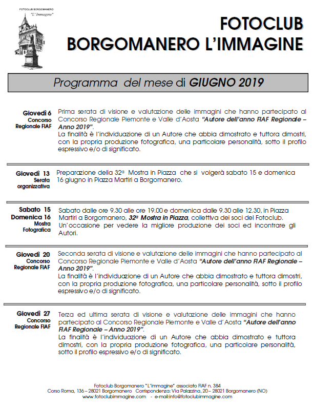 Programma Giugno 2019 Fotoclub Borgomanero l'Immagine
