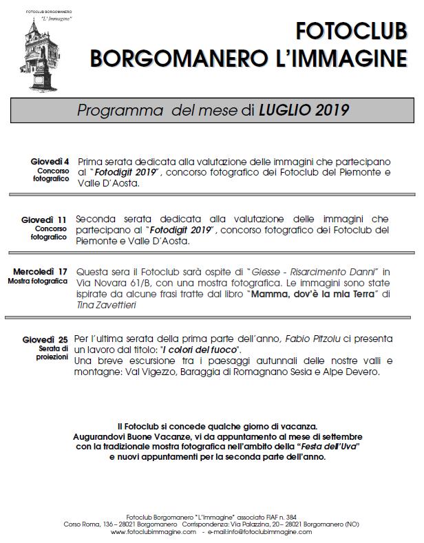 Programma Luglio 2019 Fotoclub Borgomanero l'Immagine