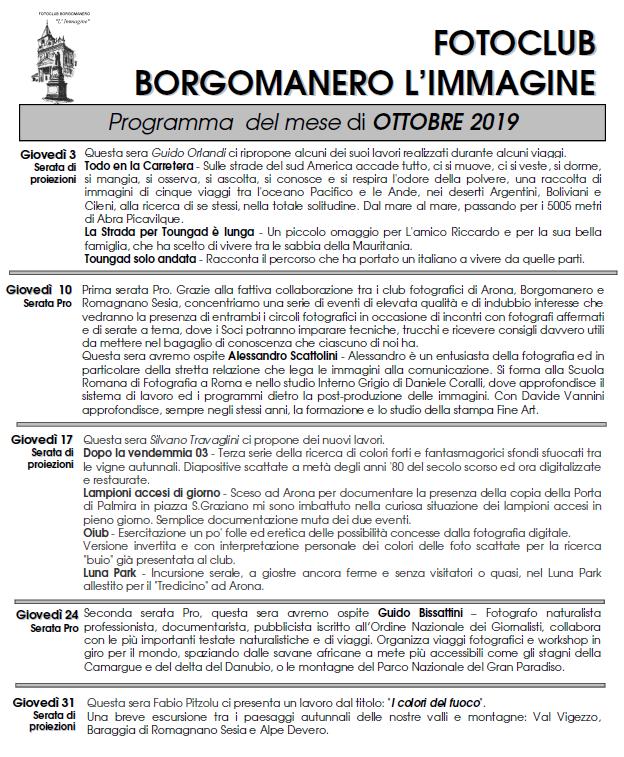 Programma Ottobre 2019 Fotoclub Borgomanero l'Immagine