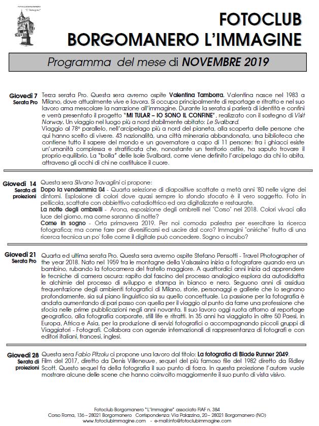 Programma Novembre 2019 Fotoclub Borgomanero l'Immagine