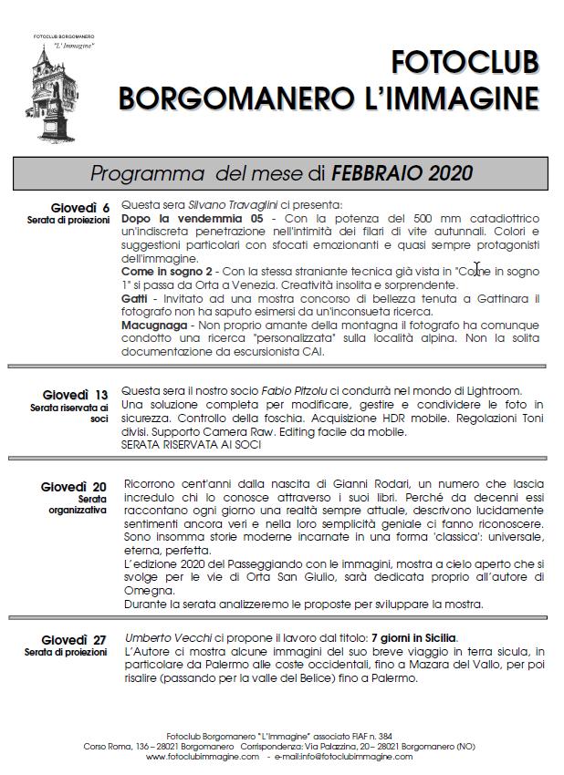 Programma Febbraio 2020 Fotoclub Borgomanero l'Immagine